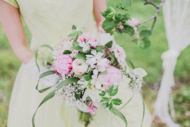 Apple Blossom and Peoony Cascade Bouquet Ireland // Kirsty-Lyn Jameson photography // Vintage Violet Floral Boutique Florist // ConfettiDaydreams.com //