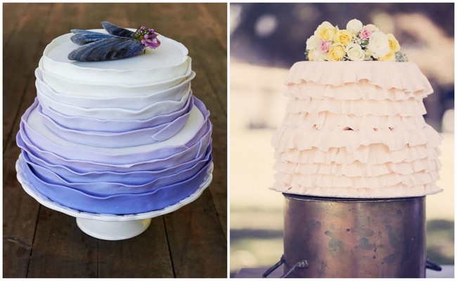 Ombre Ruffle Wedding Cakes