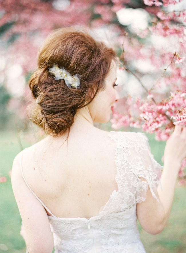 Wedding Updo Bridal Hairstyle :: himsical gold branch and tulle hair comb by hushed commotion:: Photography by Jen Huang / Hair by StylesonB / Makeup by FaceTheDayNY