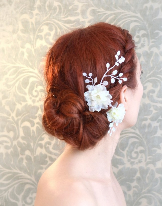 Wedding Updo Bridal Hairstyle :: Flower Hair Piece from Garden of Whimsy