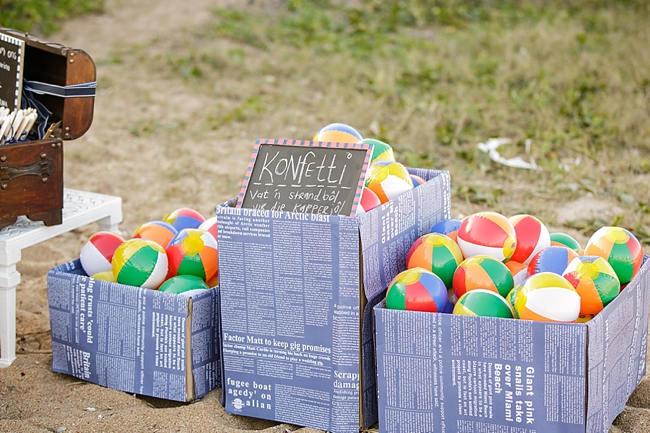 DIY Beach Wedding Beach ball toss