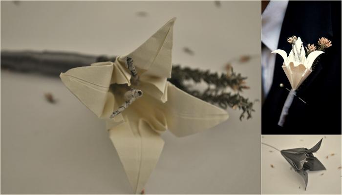 DIY Paper Origami Lily Vintage Wedding Corsages & Boutonnières