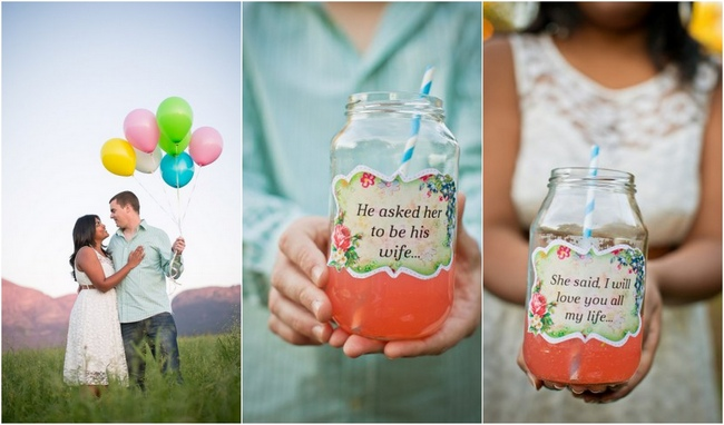 Whimsical Balloon Theme Engagement Photo Shoot