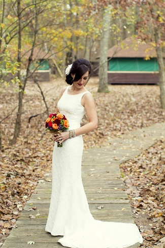 Rustic Green Orange and Ivory Autumn Wedding