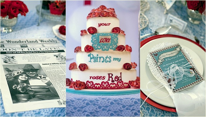 Alice in Wonderland Wedding Ideas in Red and Blue