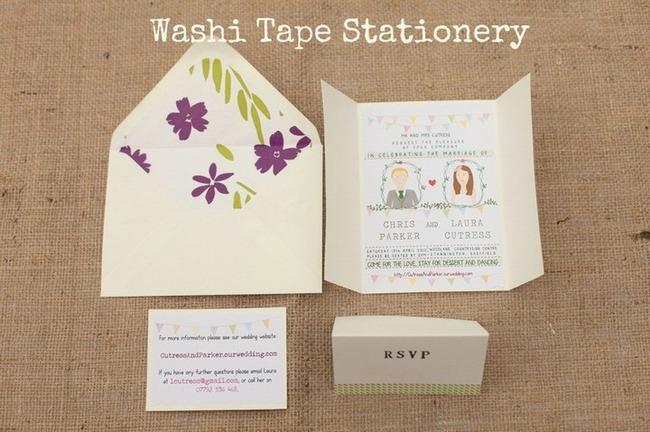 DIY Washi Tape Wedding Invitation