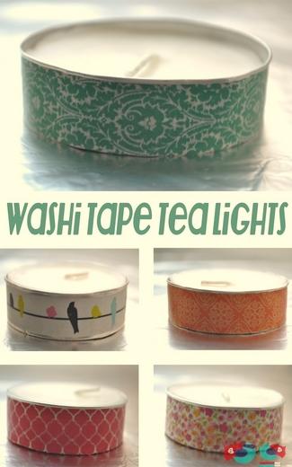 DIY Washi Tape Tea Lights