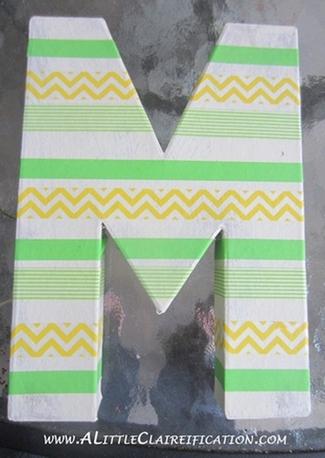 DIY Washi Tape Monogram Wall Art