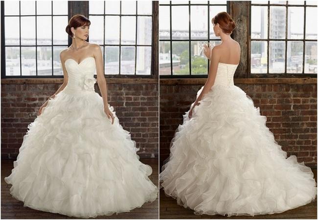 Mori Lee Ruffled Organza Flower Wedding Dress