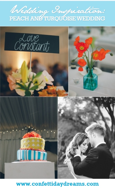 Peach and Turquoise Wedding Real Bride