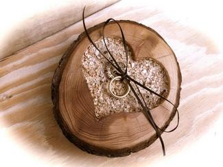 Rustic Ring Bearer Wooden Heart Holder
