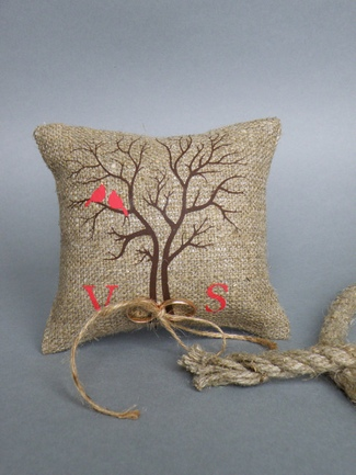 Rustic Ring Bearer Pillows