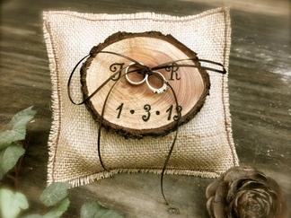 Rustic Ring Bearer Burlap & Wooden Pillow