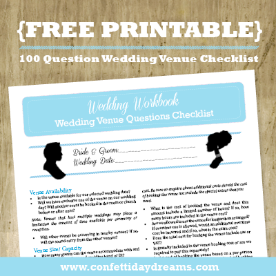 Wedding Venue Checklist 100 Question Printable