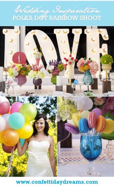 Polka Dot Rainbow Colour Wedding Theme {Inspiration Board}