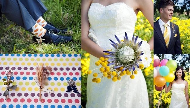 Polka Dot Rainbow Wedding Theme {Inspiration Board}