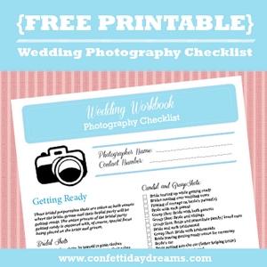 Wedding Photography Checklist Free Printable