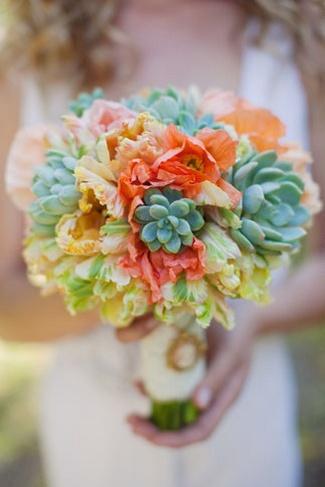 Peach and Orange Succulent Bouquet Ideas