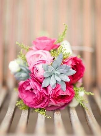 Pink Succulent Bridal Bouquets