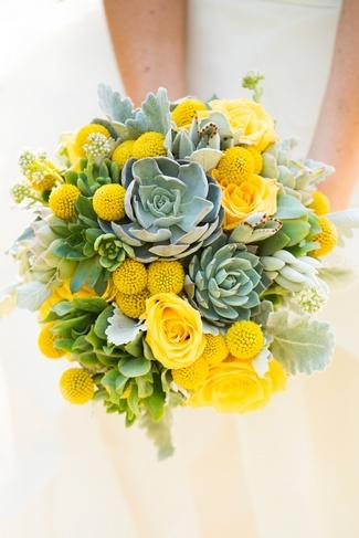 Yellow Succulent Bouquet Ideas
