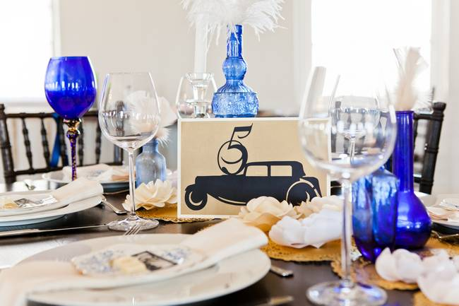 Great Gatsby Wedding Shoot Blue and Gold
