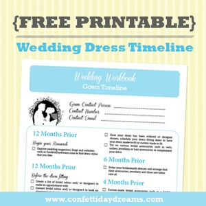 Wedding Dress Timeline Printable To Guide You During Your
