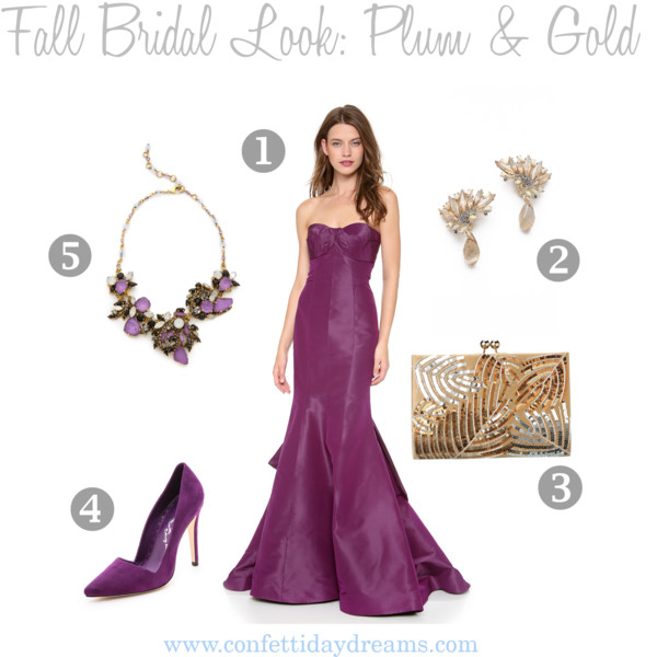 Fall Bridal Look | Plum and Gold