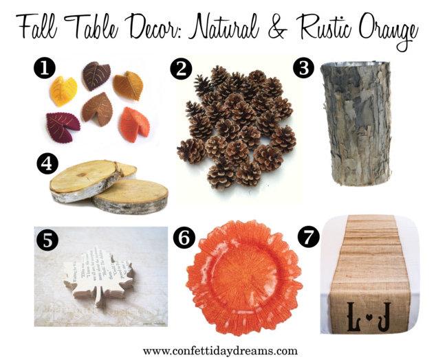 Fall Wedding Table Decor Natural & Rustic Orange