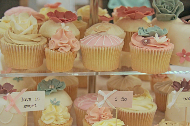 Rustic Vintage Cupcake and Mini-Cake Tower by Barney's Bakery