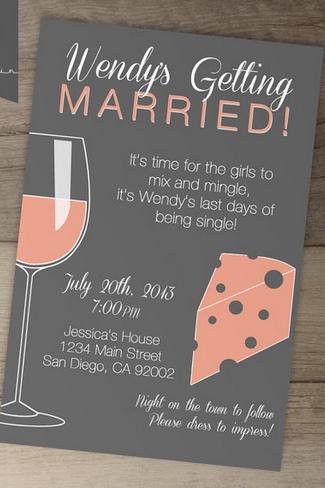 Wine and Cheese Bachelorette Party Invite