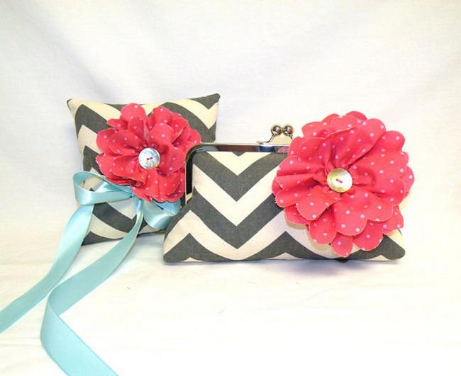 Chevron Bridal Clutch & Ring Bearer Pillow Set {Wedding Trends}