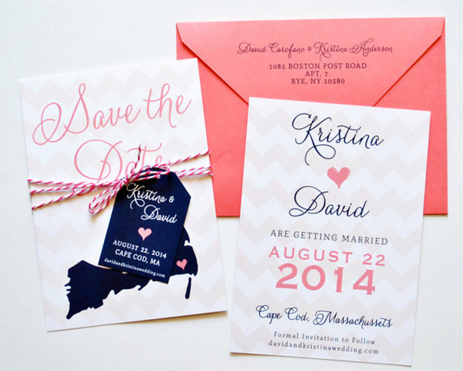 Chevron Wedding Save The Date Card {Wedding Trends}