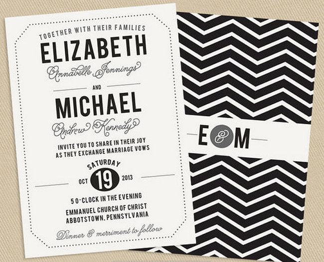 Chevron Wedding Invite {Wedding Trends}