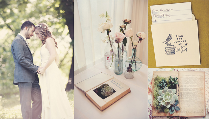 Vintage Library & Book Themed Wedding, New York