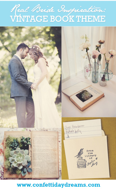Vintage Library Book Themed Wedding, New York