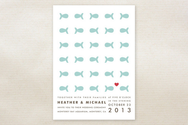 """Only Fish For Me"" Beach Wedding Invitations"