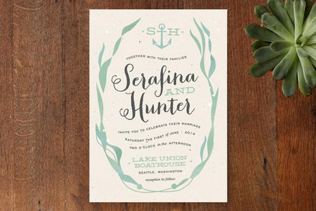 Whimsical Kelp Beach Wedding Invitations