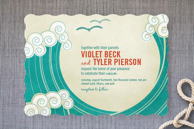 Block Print Beach Waves Beach Wedding Invitations