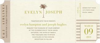 Tropical Ticket Beach Wedding Invitations