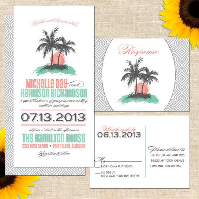 Island Style Beach Wedding Invitations