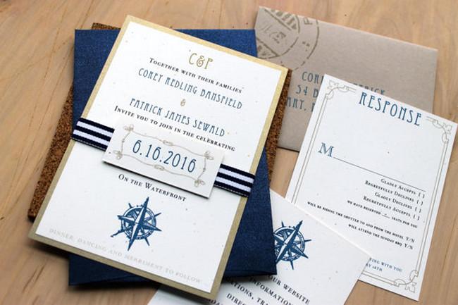 """Nautical Bliss"" Beach Wedding Invitations"