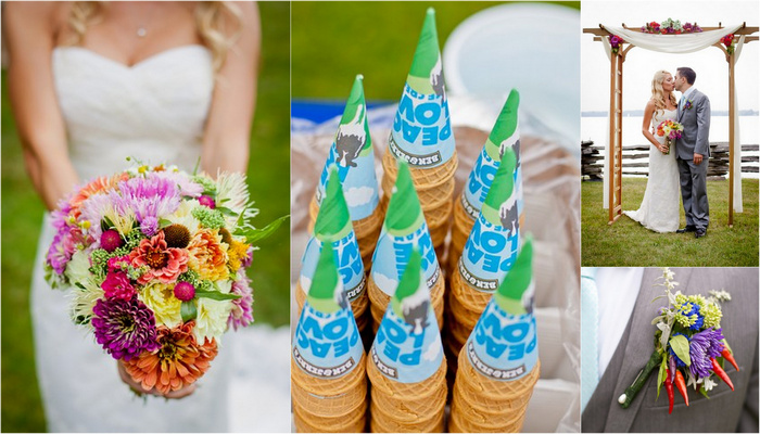 Colorful Rustic Vermont Outdoor Wedding