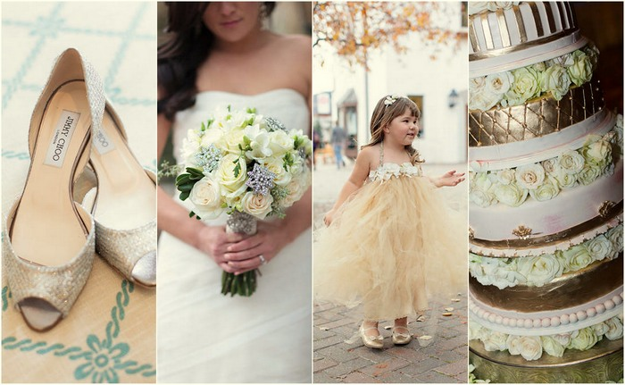 Glamorous Gold, Green & White Wedding