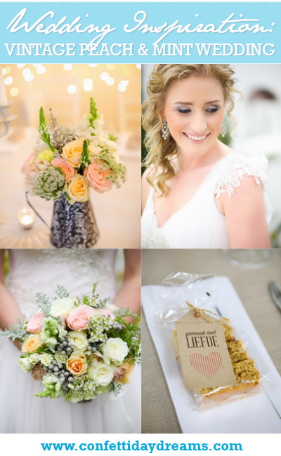 Vintage Peach and Mint South African Wedding