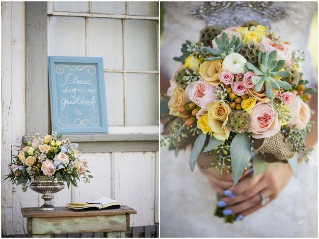 Peach Cream Rustic Country Ruffles & Lace Wedding  004