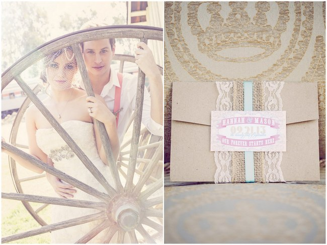 Peach Cream Rustic Country Ruffles & Lace Wedding  009