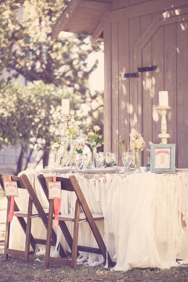 Peach Cream Rustic Country Ruffles & Lace Wedding 18