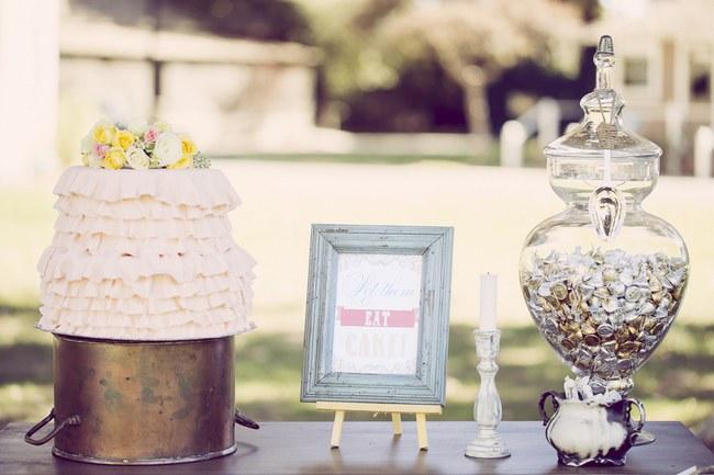 Peach Cream Rustic Country Ruffles & Lace Wedding 33