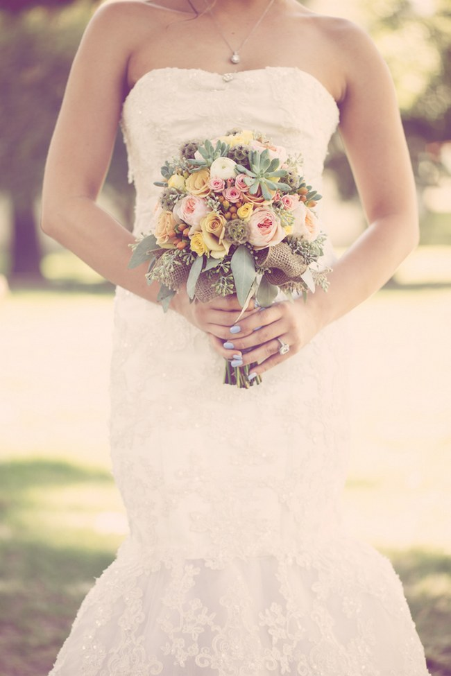 Peach Cream Rustic Country Ruffles & Lace Wedding 36