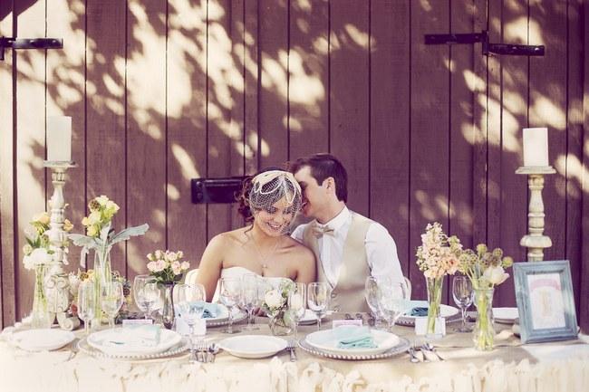 Peach Cream Rustic Country Ruffles & Lace Wedding 49